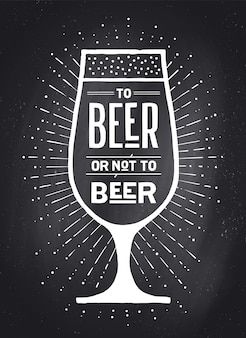 Cartaz ou banner com o texto to beer or not to beer e raios de sol vintage