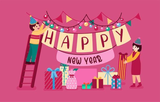 Cartaz ou banner de festa de feliz ano novo de 2021 com ícones de caixa de presente