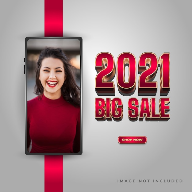 Cartaz ou banner de venda do ano novo 2021 com texto elegante em vermelho e smartphone