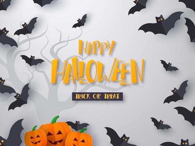 Cartaz ou banner do feriado de halloween. corte de papel 3d voando morcegos com abóboras e texto de saudação desenhado à mão. plano de fundo cinza com a silhueta da árvore. ilustração vetorial.
