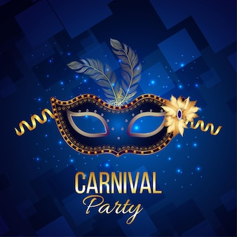Cartaz ou cartão comemorativo do carnaval em fundo azul