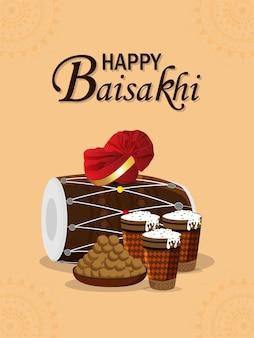 Cartaz ou folheto de celebração do feliz vaisakhi