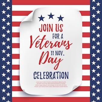Cartaz ou folheto de convite para festa do dia dos veteranos