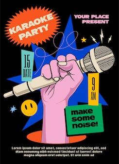 Cartaz ou folheto de festa de karaokê ou modelo de design de banner com a mão levantada segurando o microfone e elementos coloridos brilhantes em fundo preto.