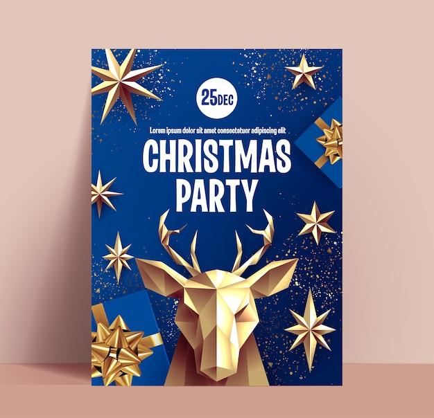 Cartaz ou folheto de festa de natal ou modelo de design de banner com decoração dourada de natal sobre fundo azul clássico