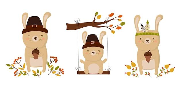 Cartaz ou panfleto de cartão de feliz ação de graças para o feriado animal engraçado