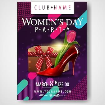 Cartaz para a festa do dia das mulheres com sapato das mulheres