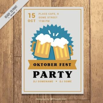 Cartaz para a oktoberfest com quadro marrom