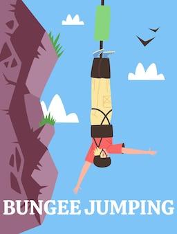 Cartaz para anunciar esportes radicais ou diversão com adrenalina, bungee jumping