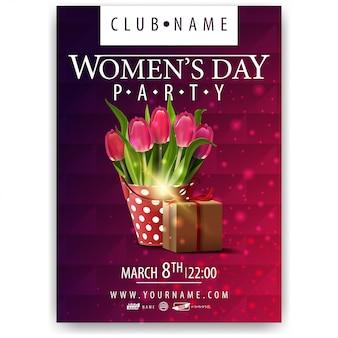 Cartaz para festa de dia das mulheres com balde com tulipas