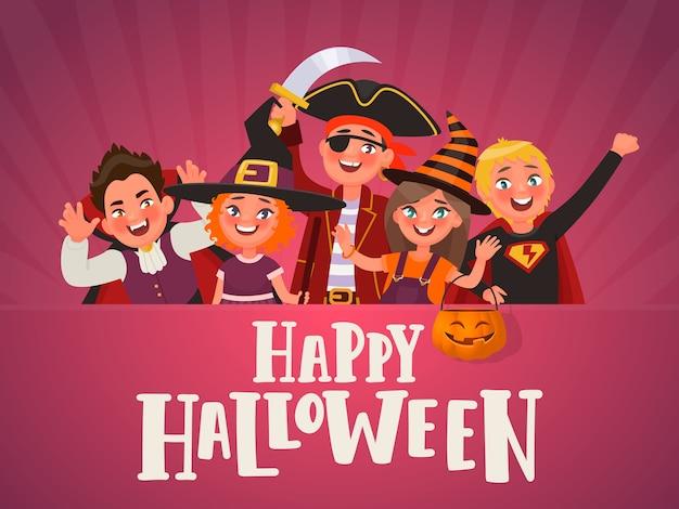 Cartaz para festa infantil de halloween. crianças vestidas com fantasias de halloween.