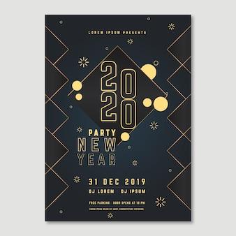 Cartaz para o evento de ano novo 2020 com efeito poli