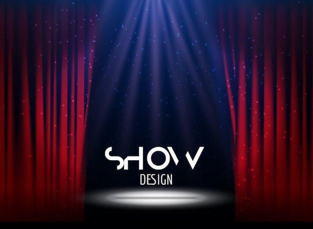 Cartaz para o show com cortina e palco