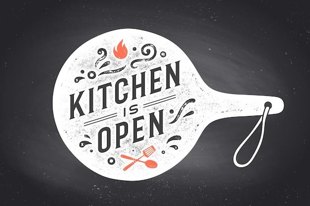 Cartaz para projeto de cozinha com tábua de cortar