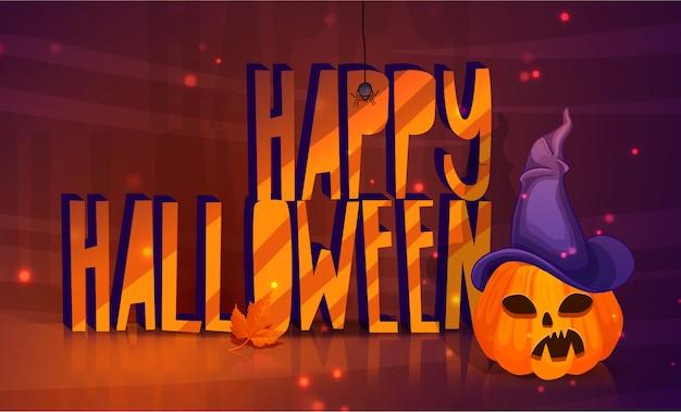 Cartaz para um feliz dia das bruxas com uma cabeça de abóbora em um chapéu de bruxa.