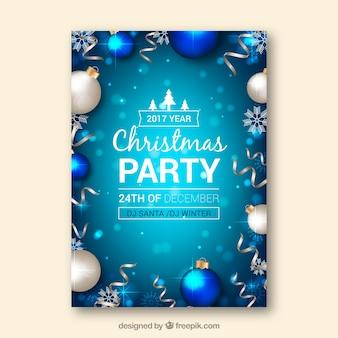 Cartaz para uma festa de natal em tons azuis