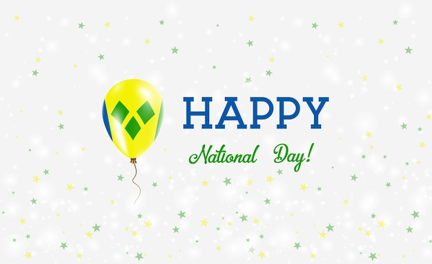 Cartaz patriótico do dia nacional de são vicente. balão de borracha voando com as cores da bandeira de são vicente. fundo de dia nacional de são vicente com balão, confete, estrelas, bokeh e brilhos.