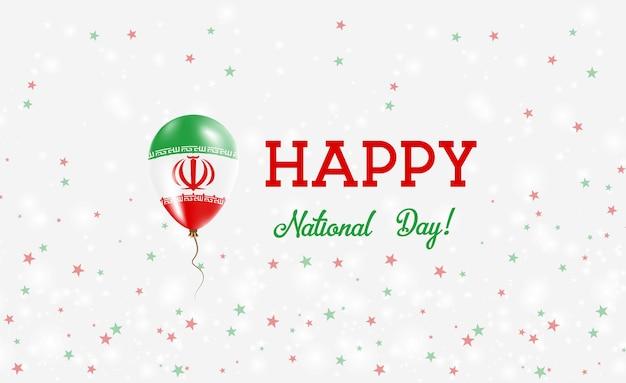 Cartaz patriótico do dia nacional do irã. balão de borracha voando com as cores da bandeira iraniana. plano de fundo do dia nacional do irã com balão, confete, estrelas, bokeh e brilhos.