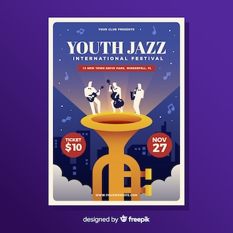 Cartaz plana de festival de música de jazz