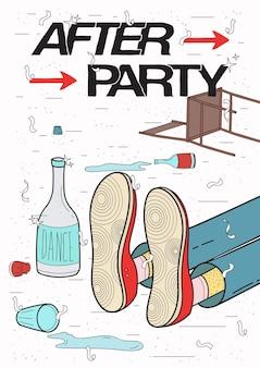 Cartaz pós-festa. bêbado, cara cansado dormindo, descansando de bebida. cartaz de festa engraçada. ilustração colorida.