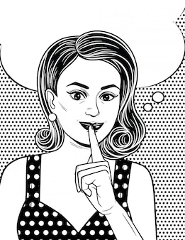 Cartaz preto e branco no estilo de arte em quadrinhos de uma garota atraente mantém o dedo indicador perto de seus lábios. mulher bonita estilo retro quer manter um segredo.