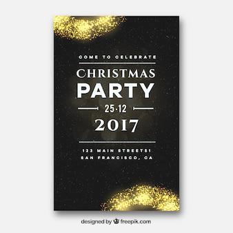 Cartaz preto simples para o ano novo com decorações douradas