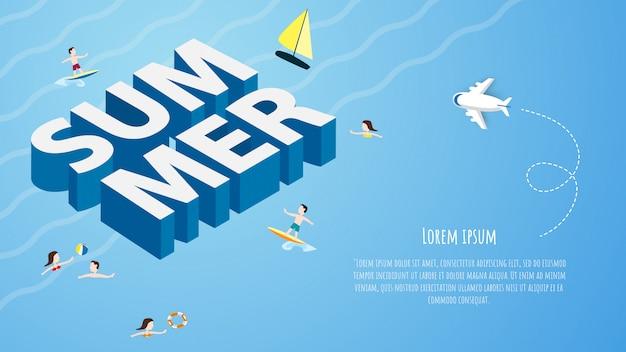 Cartaz primavera verão, banner e design para cartão de cartaz