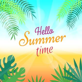 Cartaz promocional adorável de verão com palmas verdes