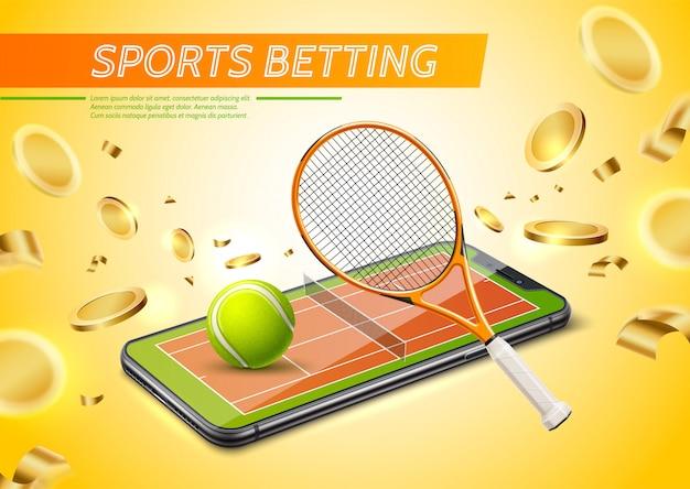 Cartaz promocional de apostas esportivas online realista com quadra de tênis na tela do smartphone com moedas de ouro