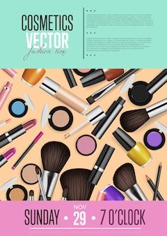 Cartaz promocional de cosméticos com data e hora