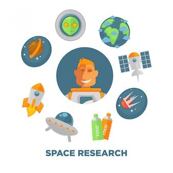 Cartaz promocional de pesquisa espacial com astronauta e espaçonaves