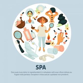Cartaz promocional de procedimentos spa com esteticista e clientes