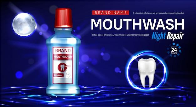 Cartaz promocional de reparo noturno de enxaguatório bucal