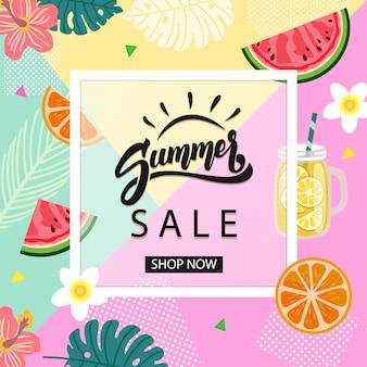 Cartaz promocional de venda de verão
