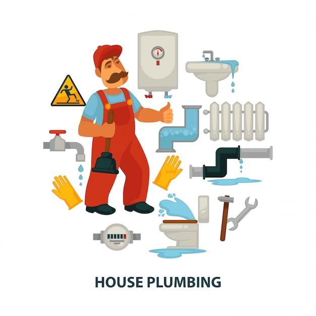 Cartaz promocional do encanamento da casa com encanador e engenharia sanitária quebrada