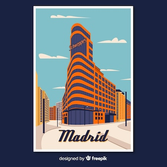 Cartaz promocional retrô de madrid