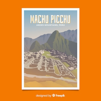 Cartaz promocional retrô do modelo de machu picchu