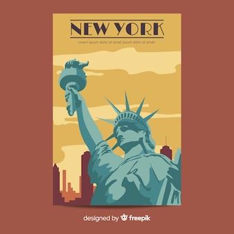 Cartaz promocional retrô do modelo de nova york