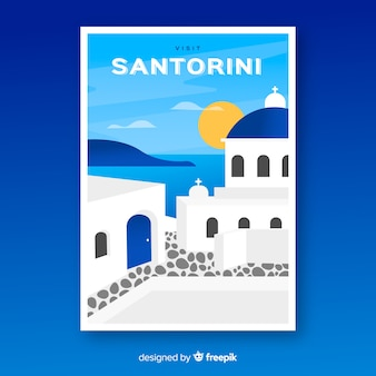 Cartaz promocional retrô do modelo de santorini