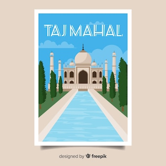 Cartaz promocional retrô do taj mahal