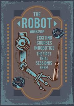 Cartaz publicitário com ilustração da mão de um robô e uma chave de fenda.