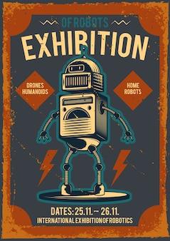 Cartaz publicitário com ilustração de um robô.