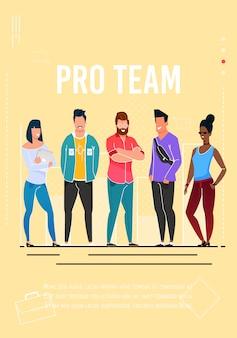 Cartaz publicitário da equipe profissional com texto editável
