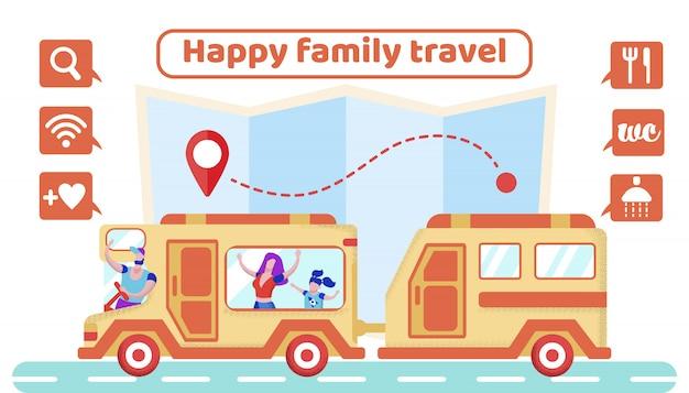 Cartaz publicitário é escrito feliz viagem de família.