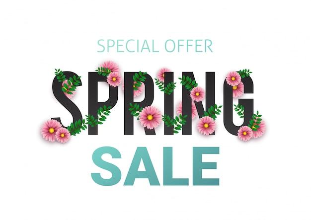 Cartaz publicitário floral de venda de primavera, placa, banner com flores realistas, folha