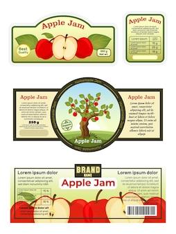 Cartaz publicitário geléia de maçã com etiqueta, adesivos, anúncios de alimentos