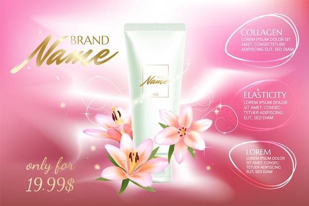 Cartaz publicitário para produto cosmético com flores para catálogo, revista