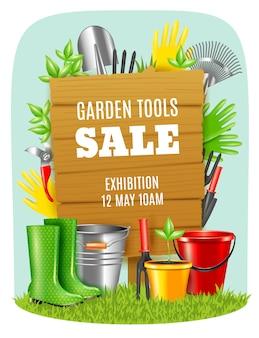 Cartaz realista das ferramentas de jardim