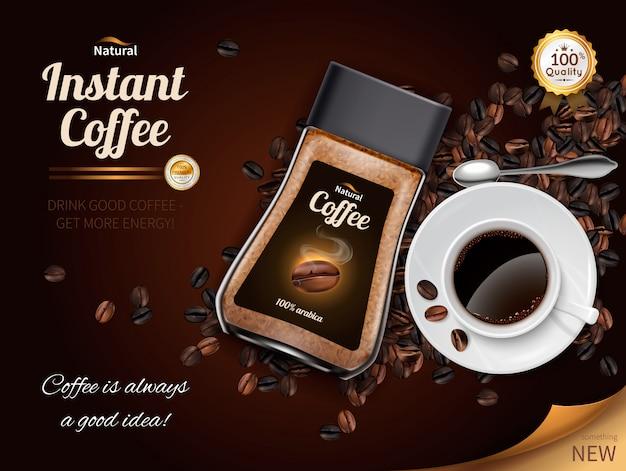 Cartaz realista de café instantâneo