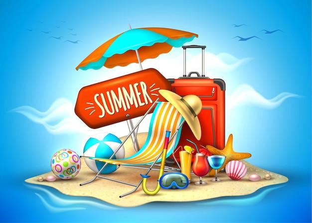 Cartaz realista de férias de verão festa na praia fundo de turismo em viagem
